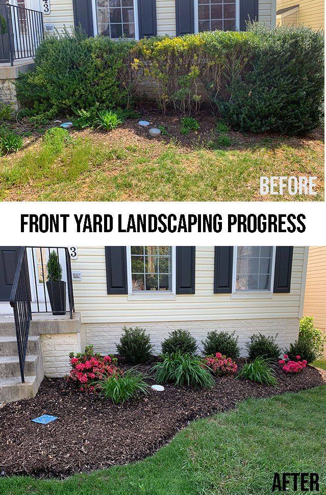 The before and after  of the front yard flower bed - Work still in progress