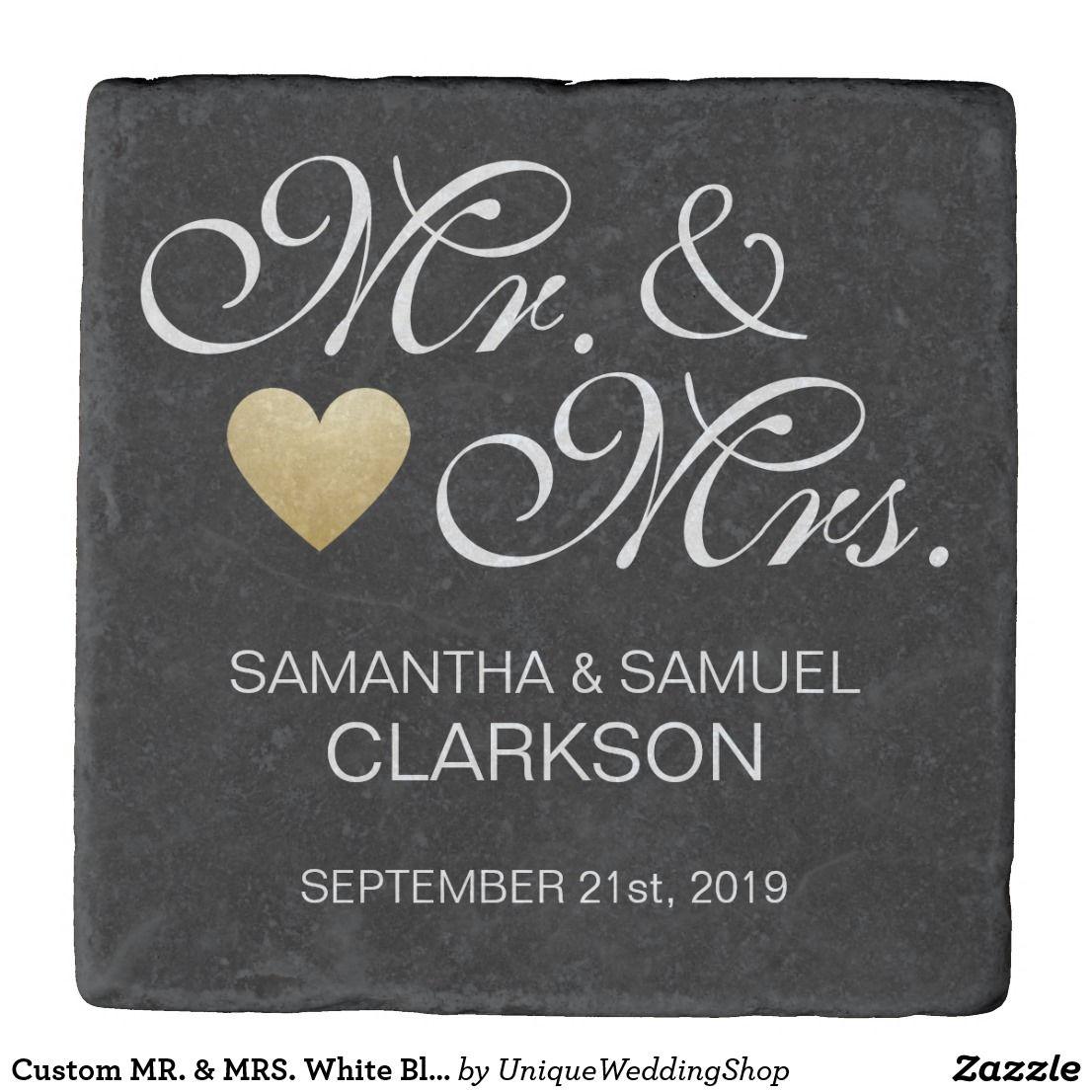 Custom mr u mrs white black heart wedding favors stone coaster
