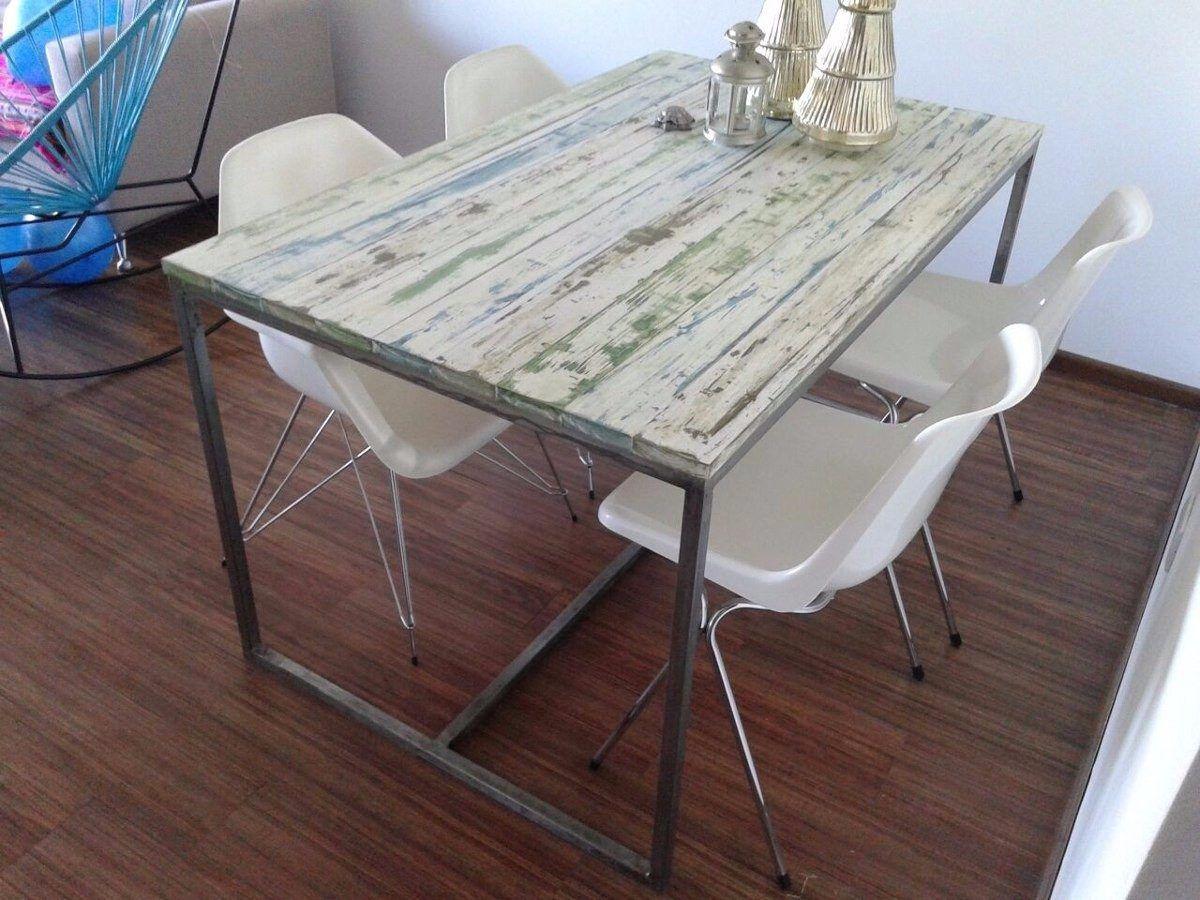 mesa en hierro y madera rustica