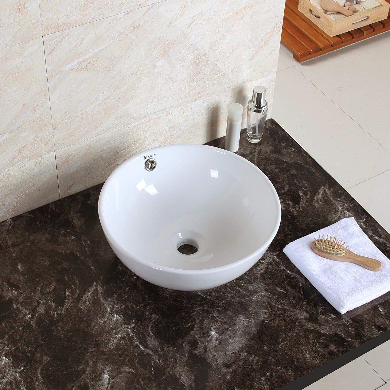 1life Bathroom Sink Round Vessel Sink Above Counter Wash Basin Bowl Porcelain White For Bathroom Restroom W Overflow 15 0 15 0 6 1 Wash Basin Sink Basin