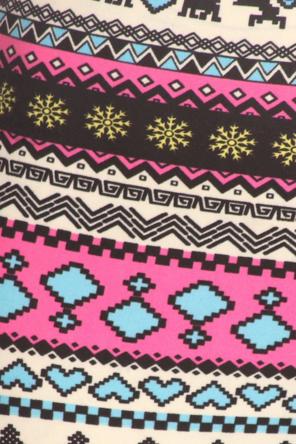 4d398a55d211ee Holiday fair isle snowflake print knit legging buttery soft peach skin  print full length leggings jpg