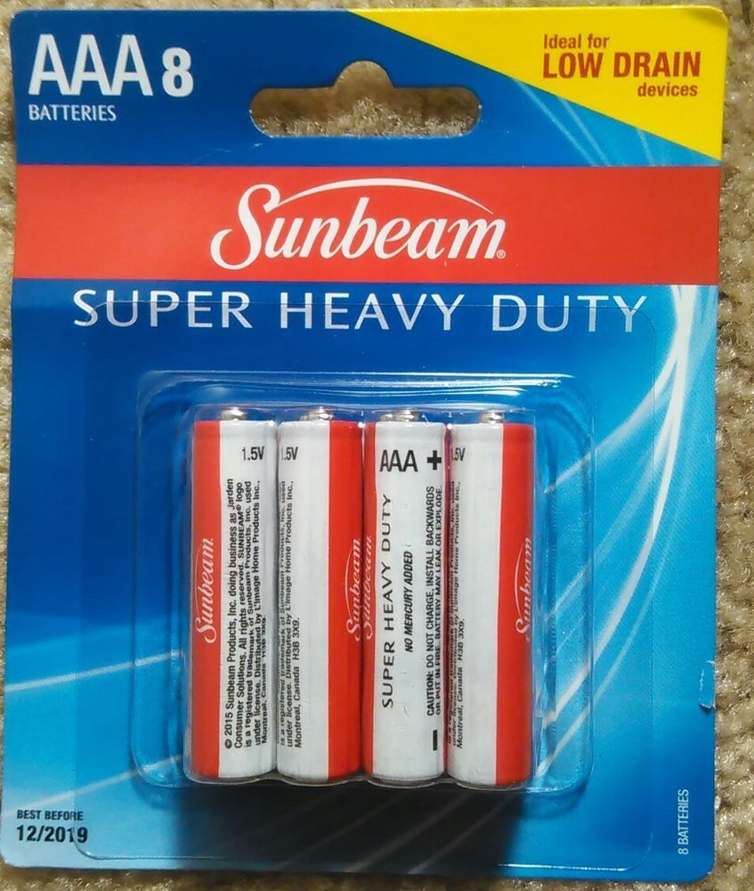 Sunbeam AAA Batteries 1 Pack Total of 8 Batteries