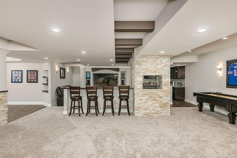 Basement Great Room Fireplace Game Room Basement Modern Home
