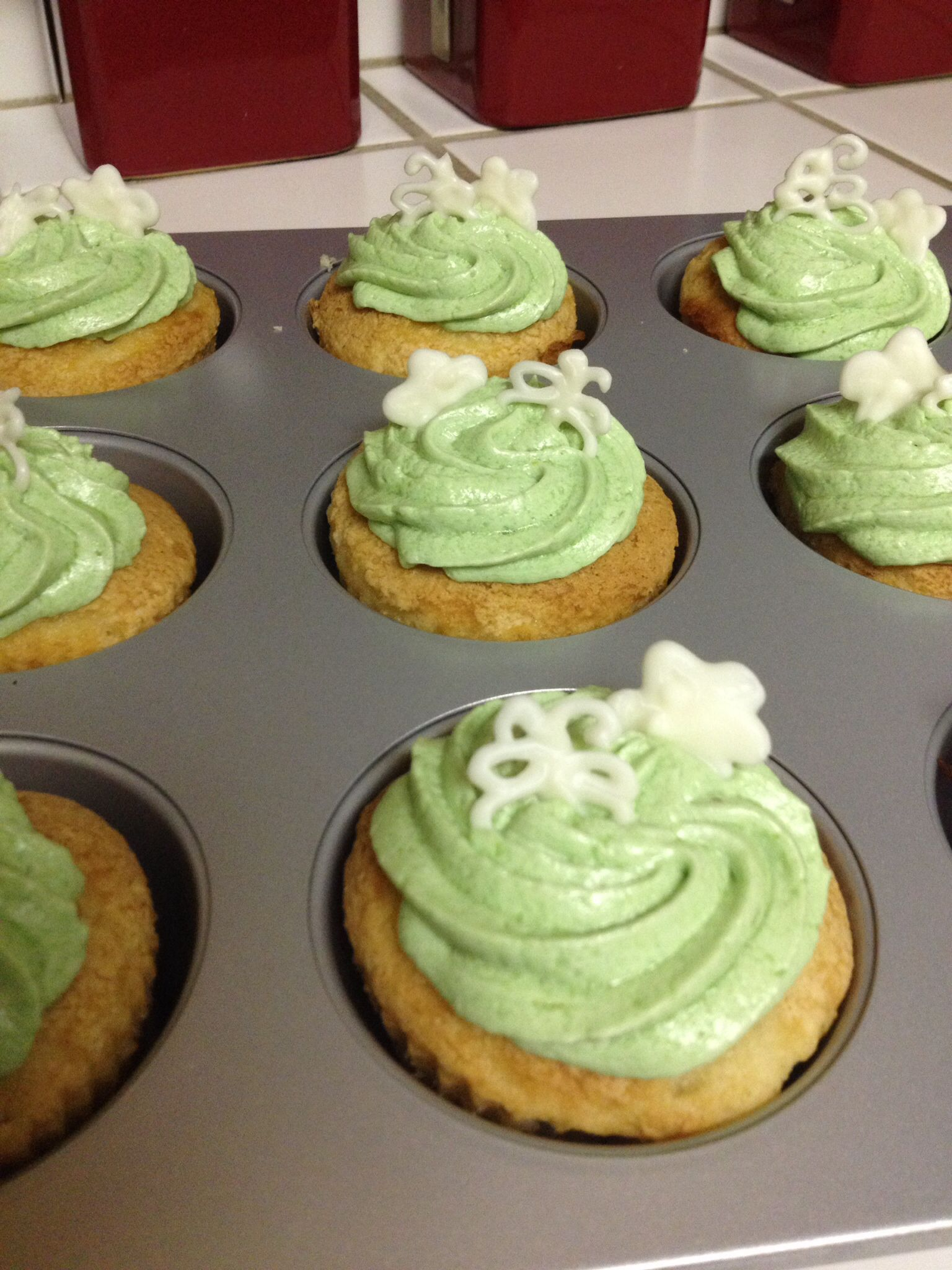 Key Lime Cupcakes with a White Chocolate Flower and Butterfly