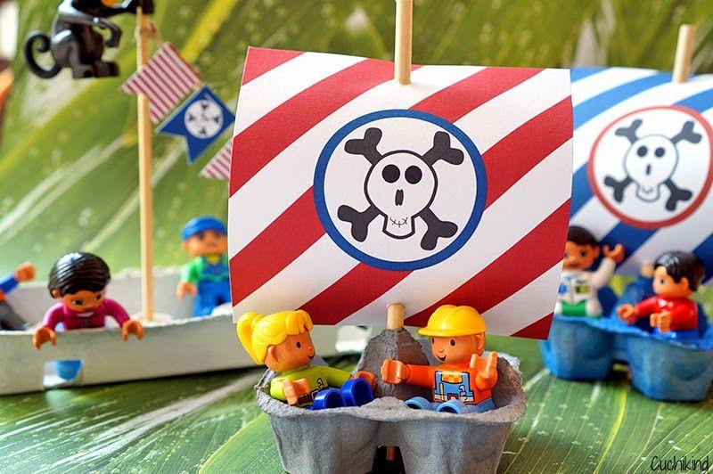 Sommerbastelidee: Piratenschiffe aus Eierkartons (Freebies)   Cuchikind - DIY-Kids-Lifestyle