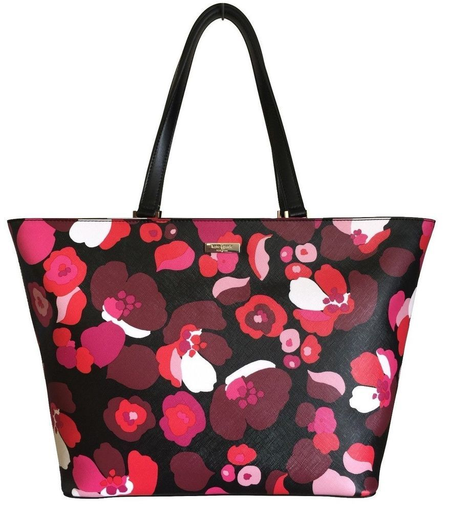 Kate Spade Jules Pink Red Black Floral Saffiano Look Tote Medium