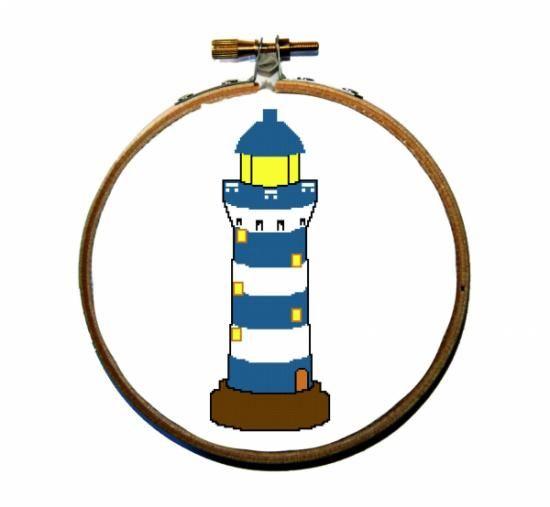 Faro patron punto de cruz. Lighthouse cross stitch pattern.