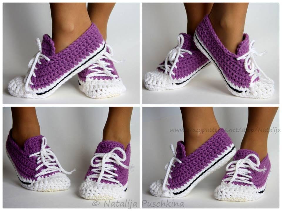 Crochet Sneakers Slippers Pattern | Zapatillas calcetines, Patrón de ...