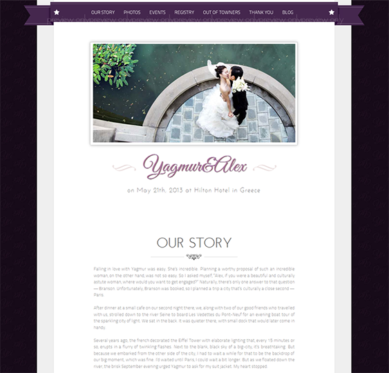 This simple wedding website template boasts Twitter integration, a ...