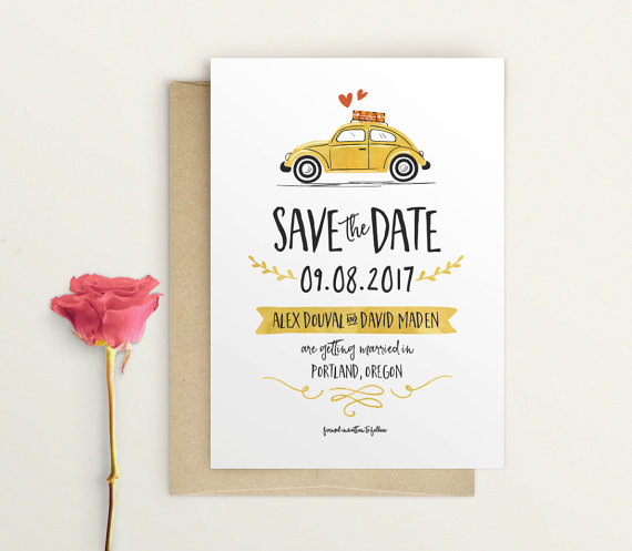 Custom Invitation Printable Digital File Getting Married Custom Invite Save the Date Cards and Invitations Digital Invite V W Bug