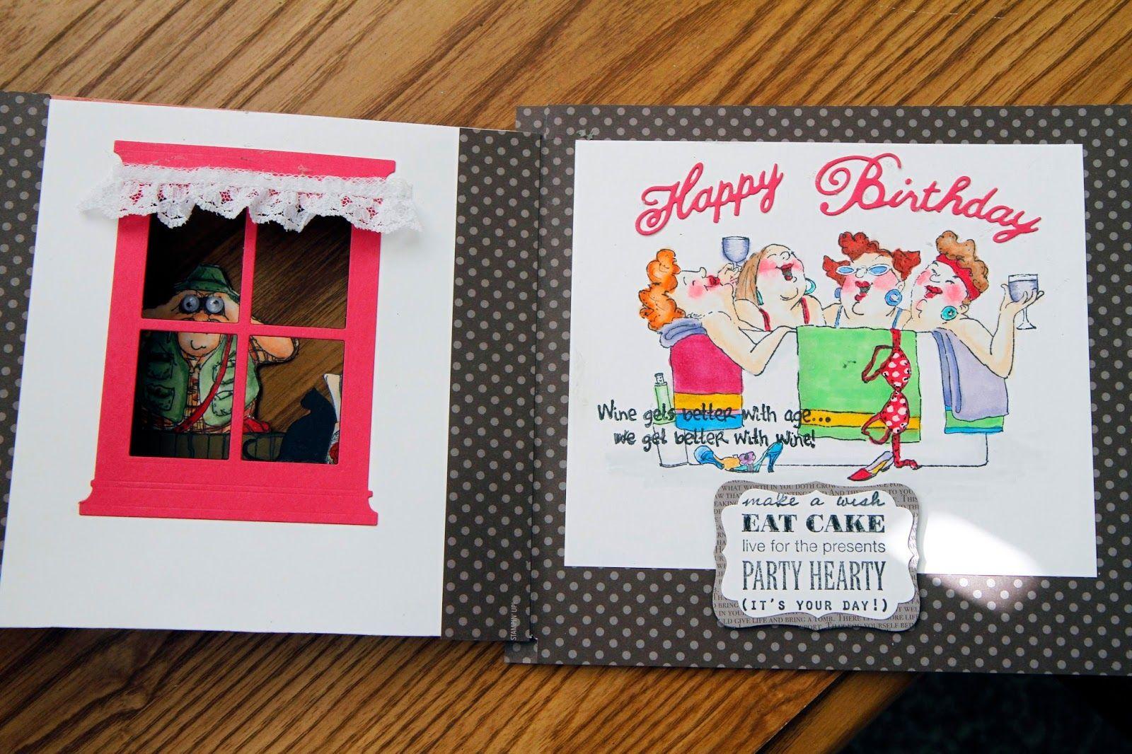 Art Impressions Ai Hollis - Front & Back (Sku#YY1901) Fence (Sku#P1499) In the Tub set of 4 (Sku#3570) Fanny Front & Back (Sku#T1716) Handmade birthday window girlfriends card. Inside of card.