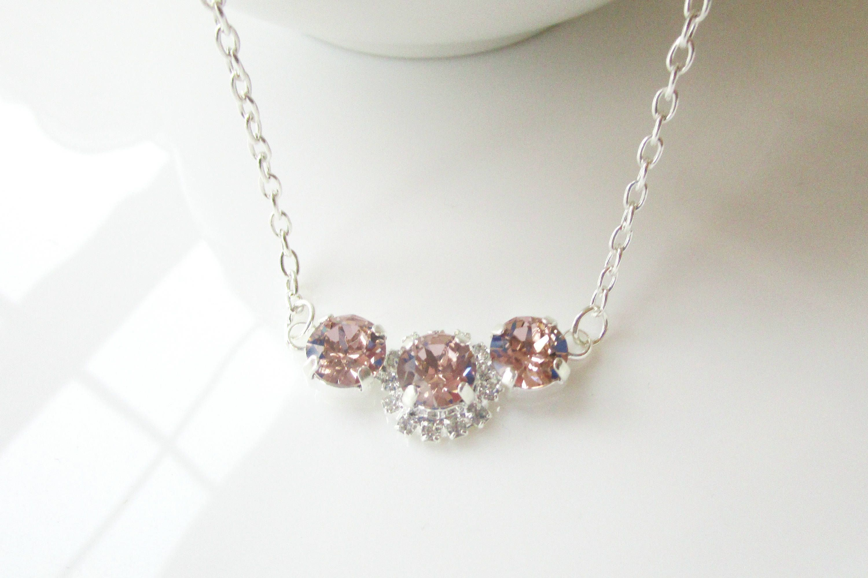 pin and jewelry blush crystal bridesmaid necklace bridal rhinestone