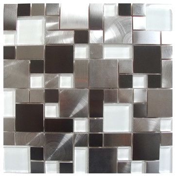 Modern cobble stainless steel with white glass tile sample contemporary kitchen also