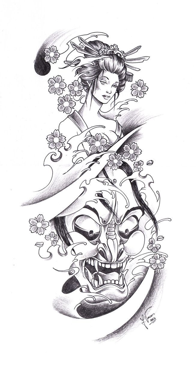 Tattoo Geisha Oni By Kauniitaunia On Deviantart Geisha Tattoo Design Tattoo Arm Designs Japanese Tattoo Designs