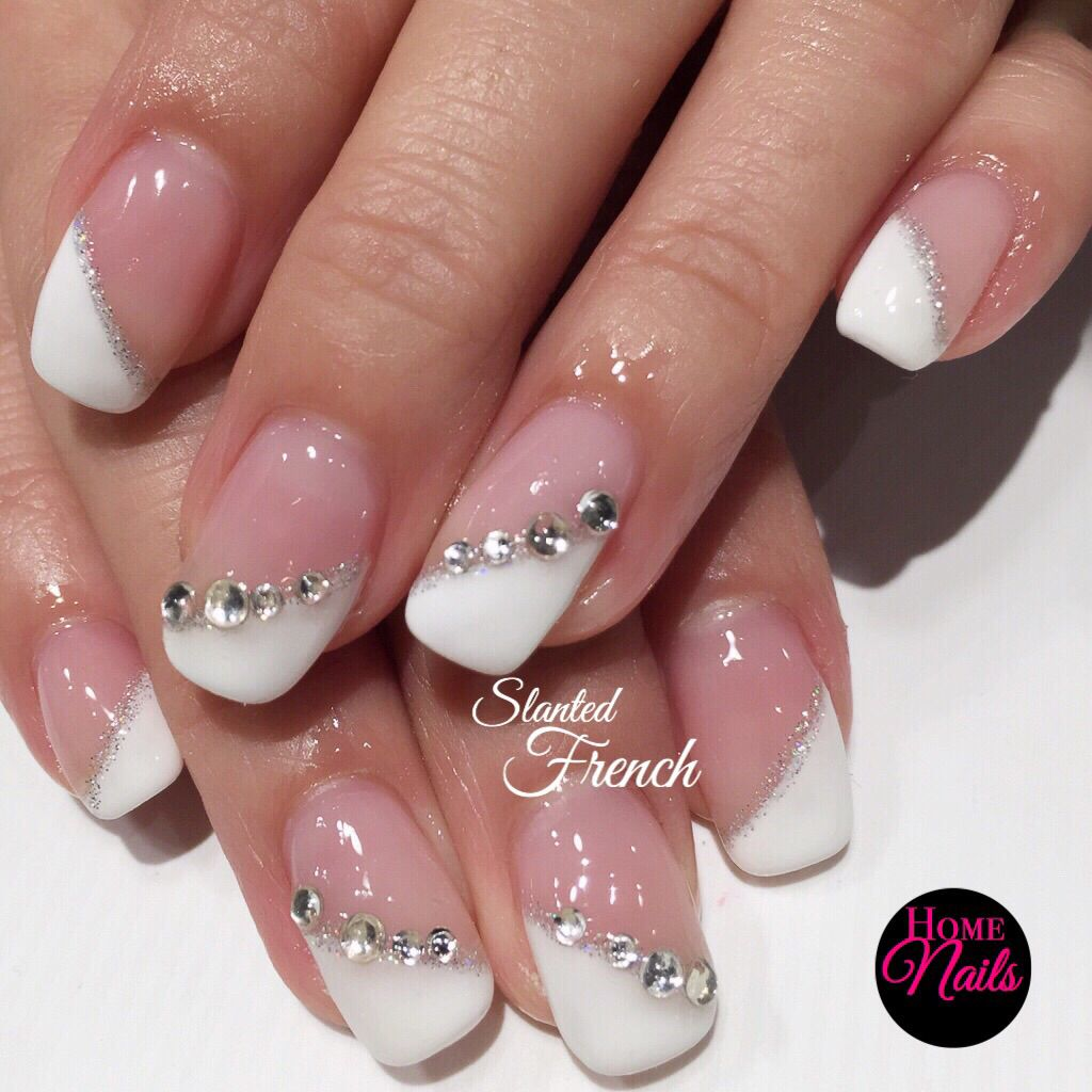 Slanted french with full set crystals gelish nail design perfect slanted french with full set crystals gelish nail design perfect for a bride on her prinsesfo Images