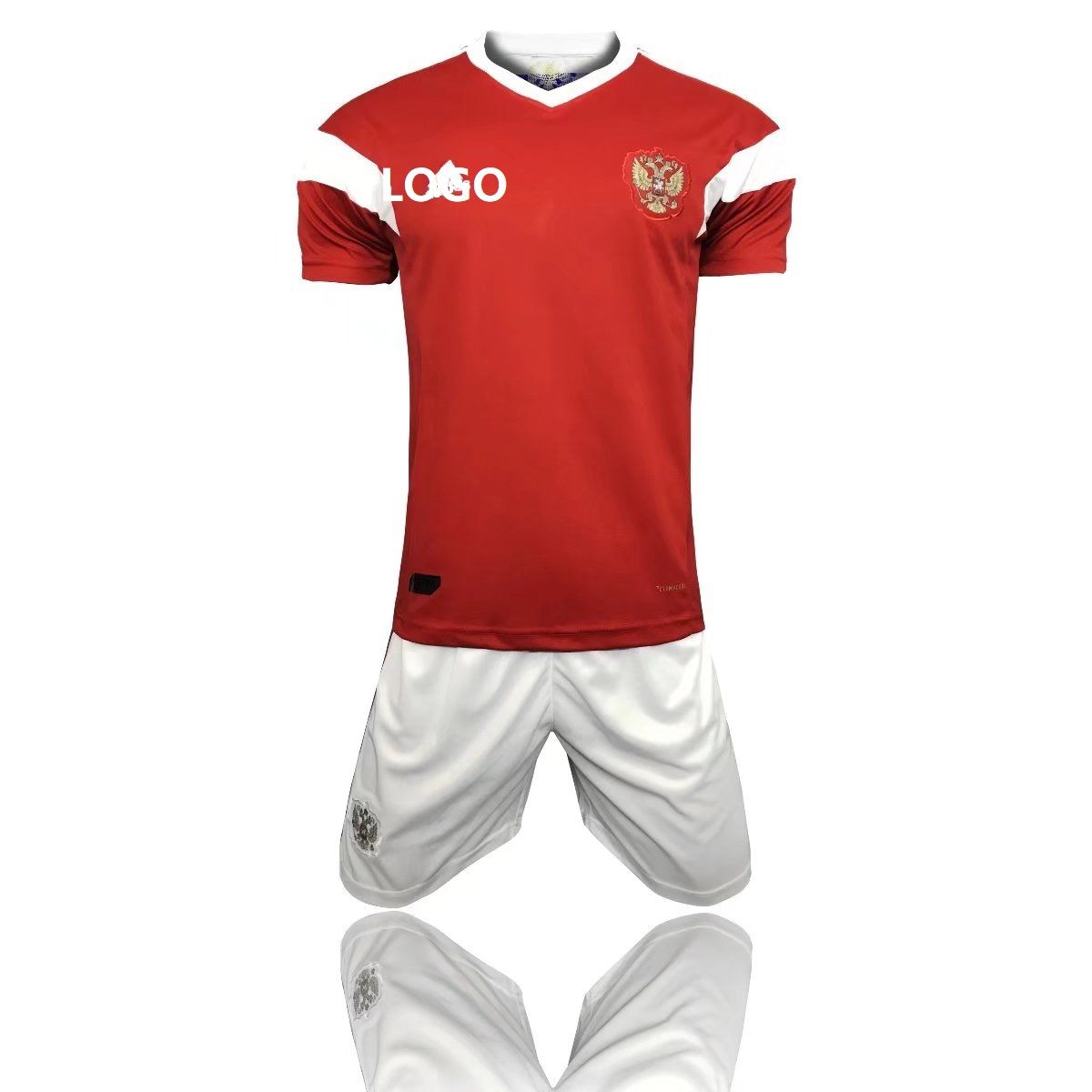 new style 8febf fda48 2018 Russia World Cup Adult Russia Home Red white Soccer Uniform Men  Football Kits Custom Name Number