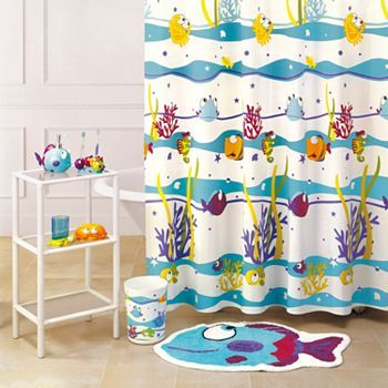 Something S Fishy Bath Accessories In 2020 Fabric Shower Curtains Curtains Kids Curtains