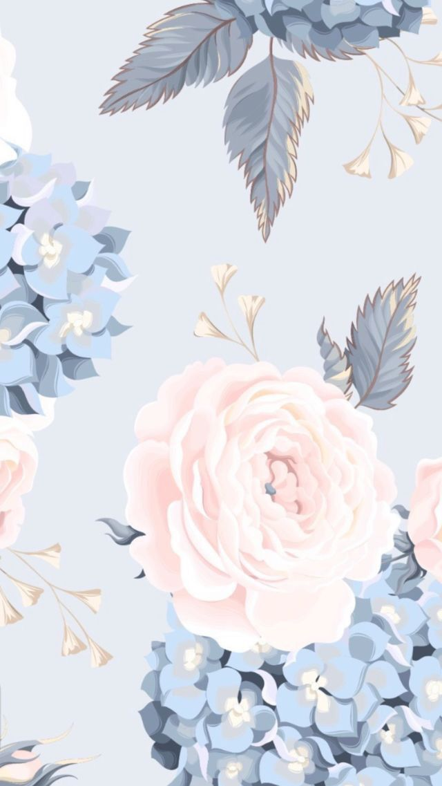 Wallpaper Phone Iphone Android Flowers Simple Aesthetic Pink Blue Floral Flower Phone Wallpaper Flower Wallpaper Floral Wallpaper