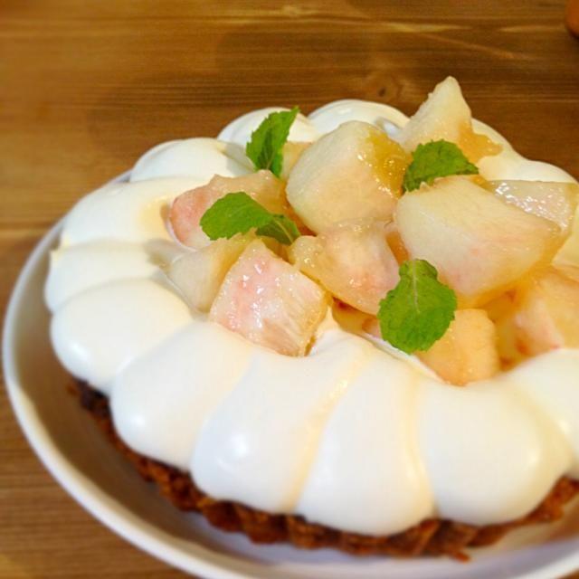 旦那さまのお誕生日ケーキ(๑´ڡ`๑)♡ ようやく作れたー♡♡ - 77件のもぐもぐ - 桃のタルト♡ by konopii