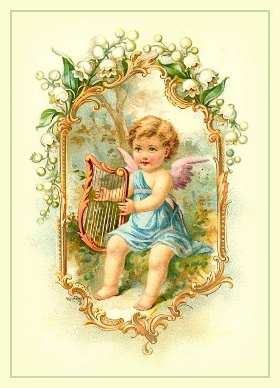 Картинки, винтажные открытки ангелы