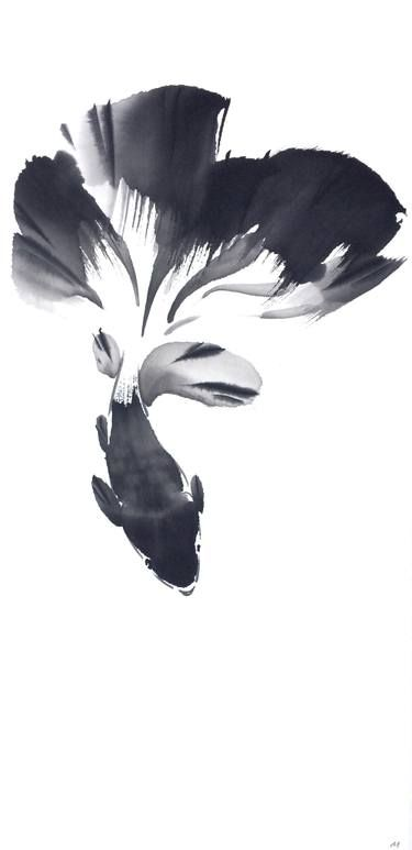 Original Fish Painting by Mayee Futterman | Figurative Art on Paper | Chinese Painting Ink Goldfish