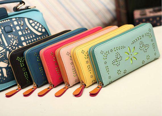 6 Farben, lange Ledermappe, Ledermappe, Fasion Geldbörse, Damen Geldbörse, lange Brieftasche, Candy Farben Brieftasche, Reißverschluss Brieftasche, Flower Geldbörse on Etsy, 21,83€
