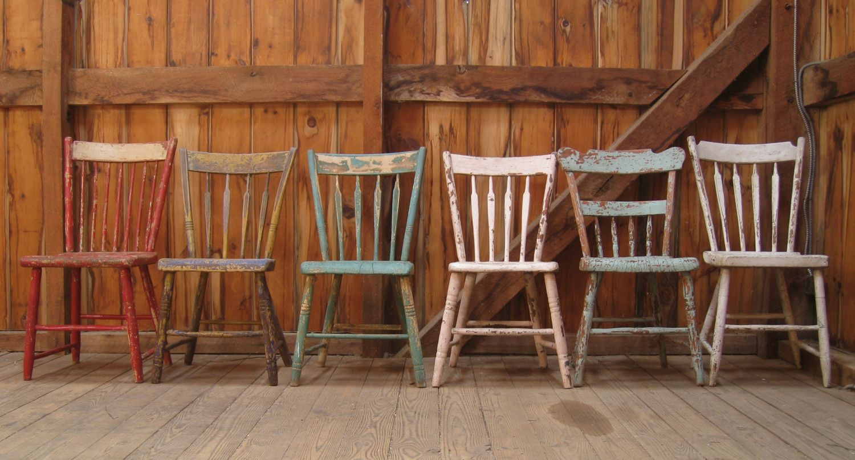Antique Primitive Plank Seat Farmhouse Dining Chairs Set