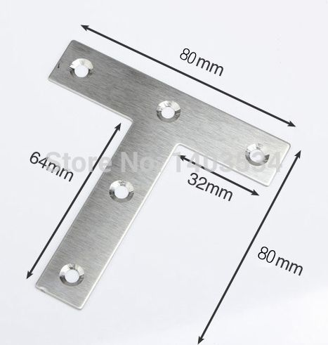 2pcs 80 80mm Thickness 1mm Stainless Steel Angle Bracket T Shape Satin Finish Frame Board Support Stainless Steel Angle Angle Bracket T Shaped