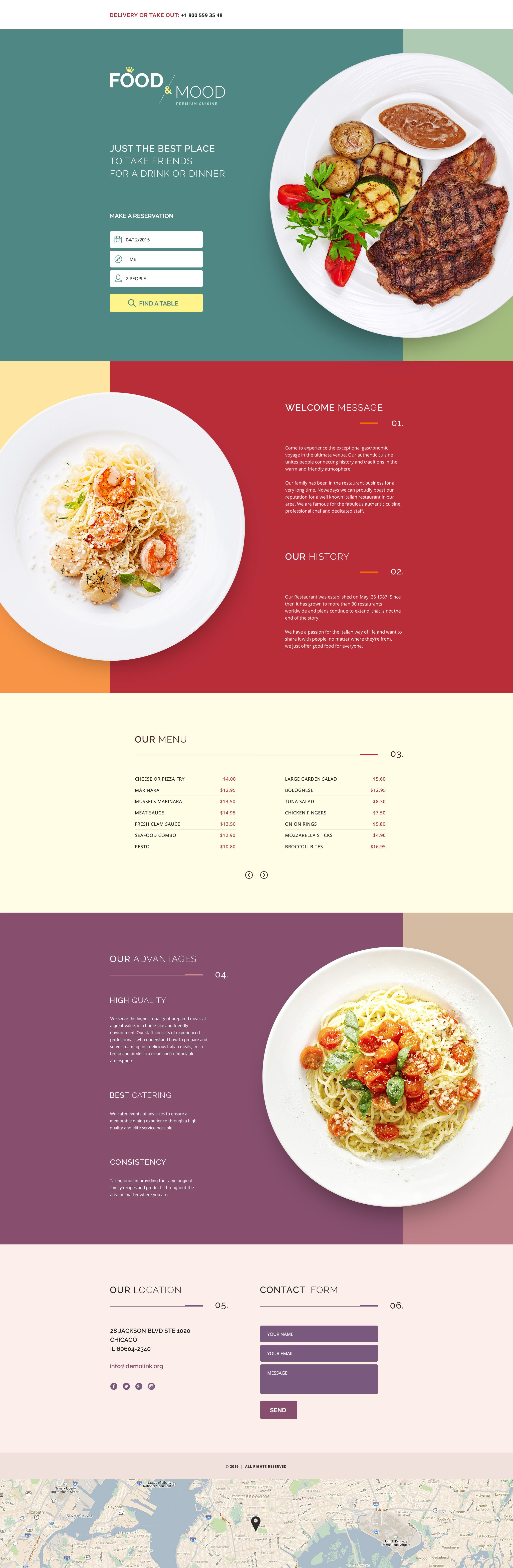 Cafe And Restaurant Landing Page Template New Website Templates