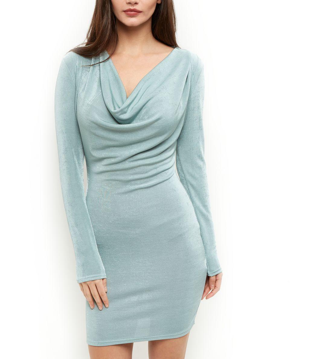 Blue Vanilla Mint Green Cowl Neck Bodycon Dress | Cowl neck, Mint ...