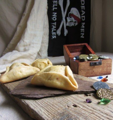 Captain Hook's Pirate Hat Meat Pies Once Upon a Time Party Food Ideas. Great idea for cream cheese wontons for the party.
