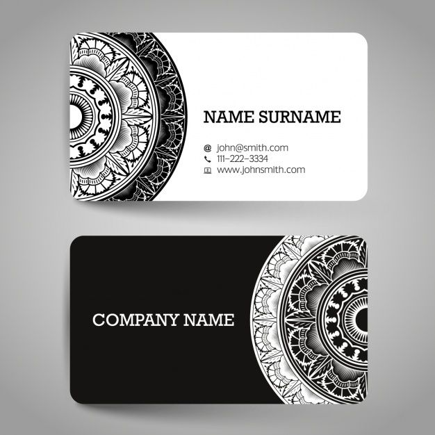 Download Business Card With Black And White Ornaments For Free White Business Card Design Business Card Design Creative Business Card Design
