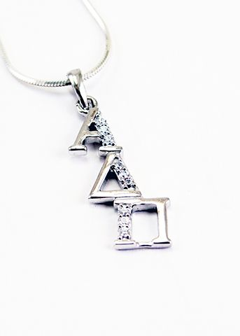 Alpha Delta Pi Sterling Silver Diagonal Lavaliere set with Lab-Created Diamonds  #alphadeltapi #ΑΔΠ #sorority #sisters #jewelry #fashion #cute #sororityjewelry #greeklife