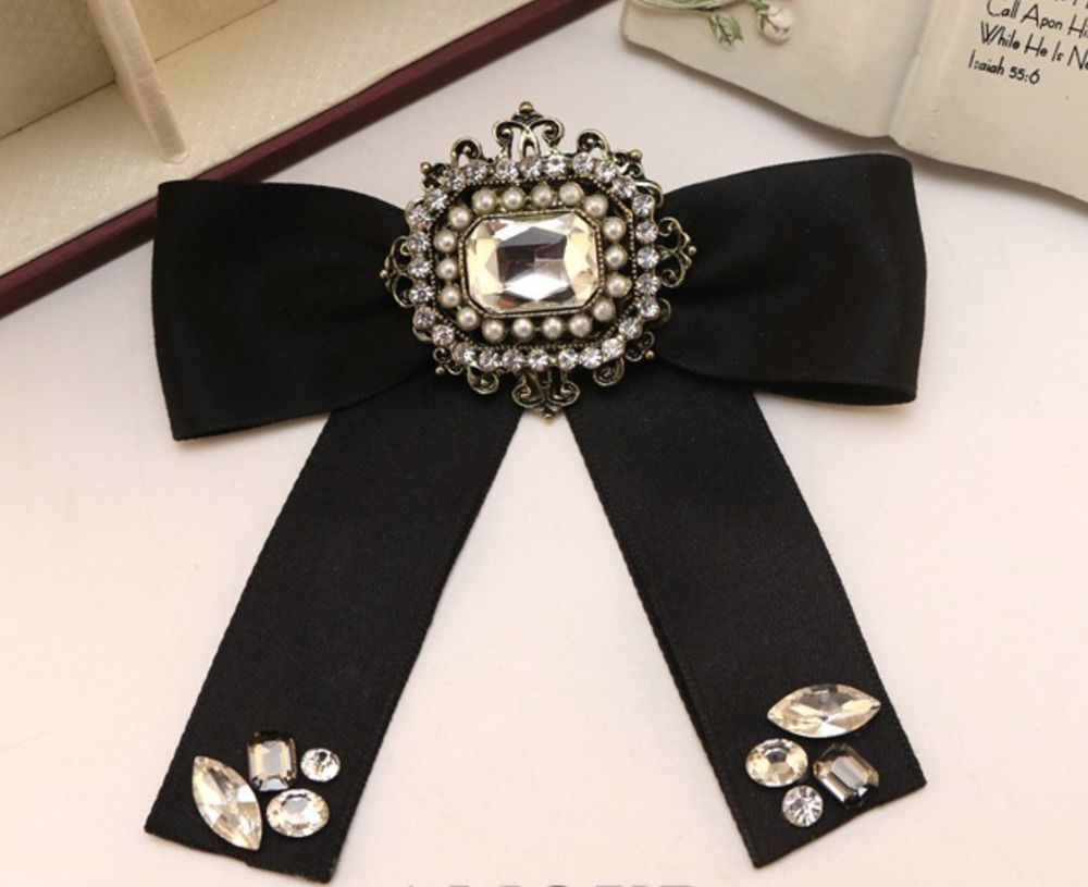 f6e901f455509 Black Ribbon British Tie Women Accessories Bow Collar Fashion Brooch ...