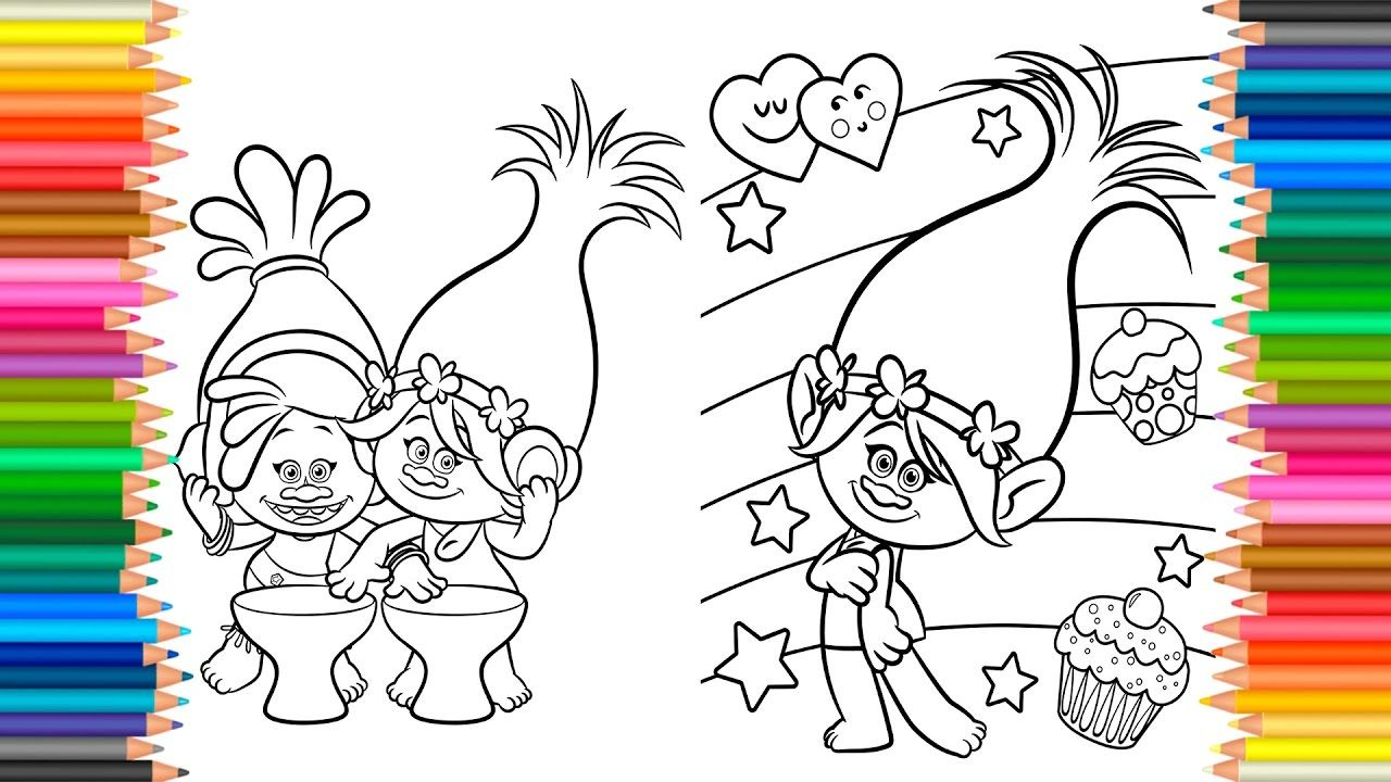 Coloring Pages Dreamworks TROLLS Book Videos For Children Learn