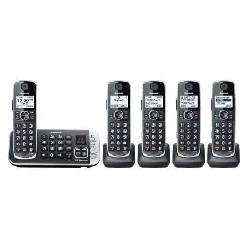 Panasonic Cordless Phone With Link To Cell And Digital Answering Machine 5 Handsets Black Kx Tge675b Cordless Phone Answering Machines Phone
