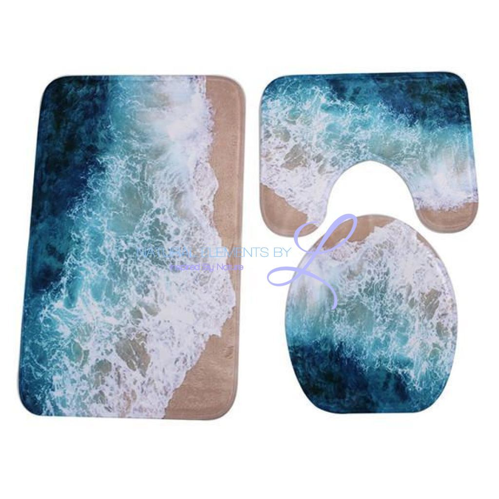 Xyzls 3 Pc Wave And Beach Anti Slip Toilet Carpet Bathroom Rug Set Bathroom Rug Sets Bathroom Rugs Bathroom Decor