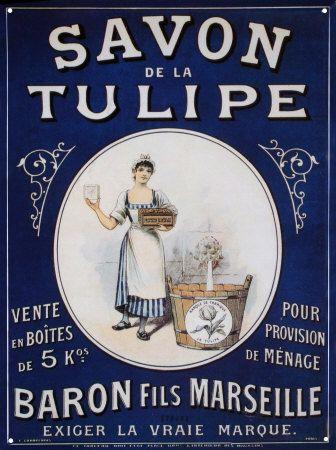 Savon De La Tulipe Tin Sign