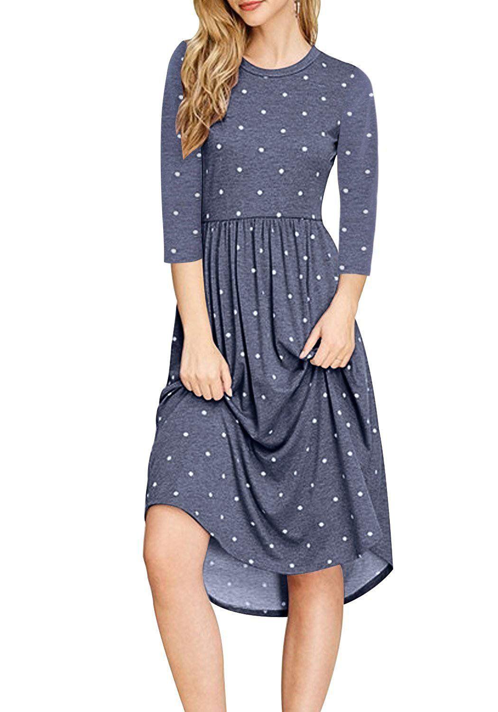 Nicias Women Polka Dot 3 4 Sleeve Casual Dress Tunic Vintage Loose Swing Pleated Midi Dress Blue Pleated Midi Dress White Lace Shift Dress Short Dresses Casual [ 1500 x 1050 Pixel ]