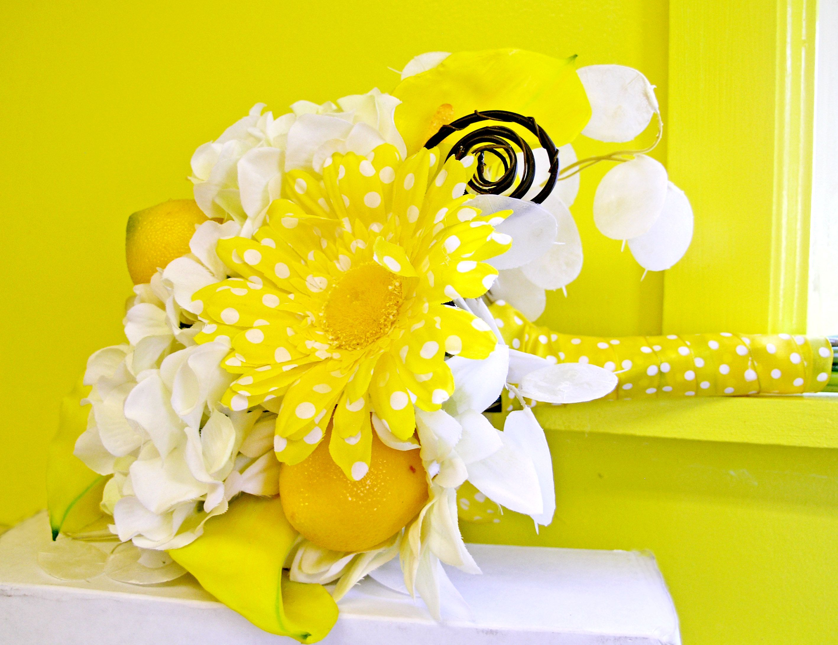 Wedding decorations at church november 2018 Lemon Yellow Bridal Bouquet White Silk Wedding Flowers  MyDream