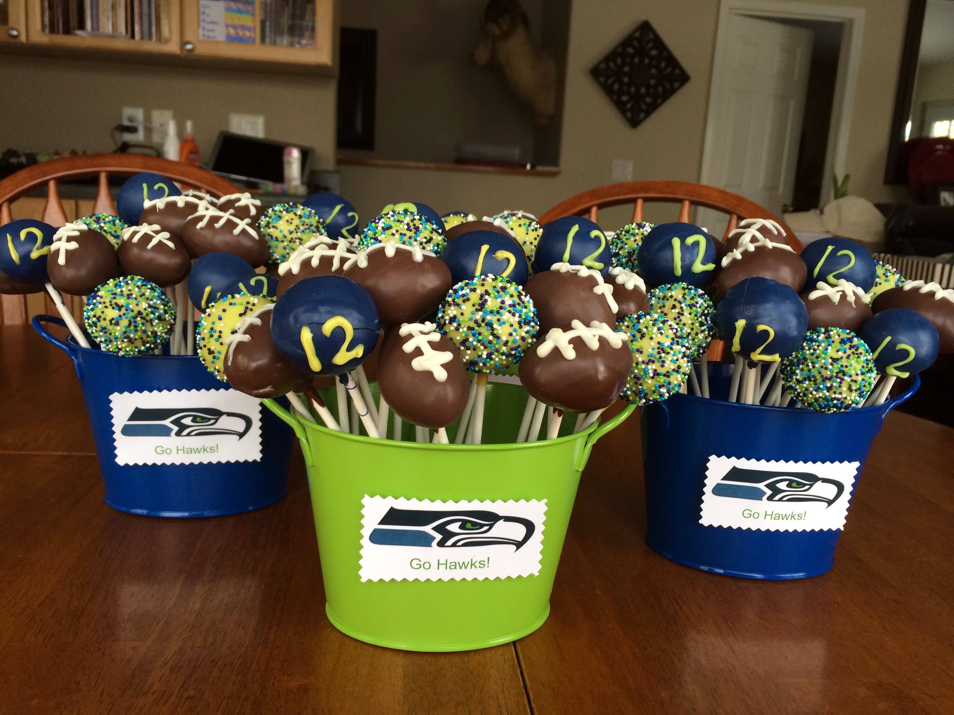 Seahawk Super Bowl Cake Pops!