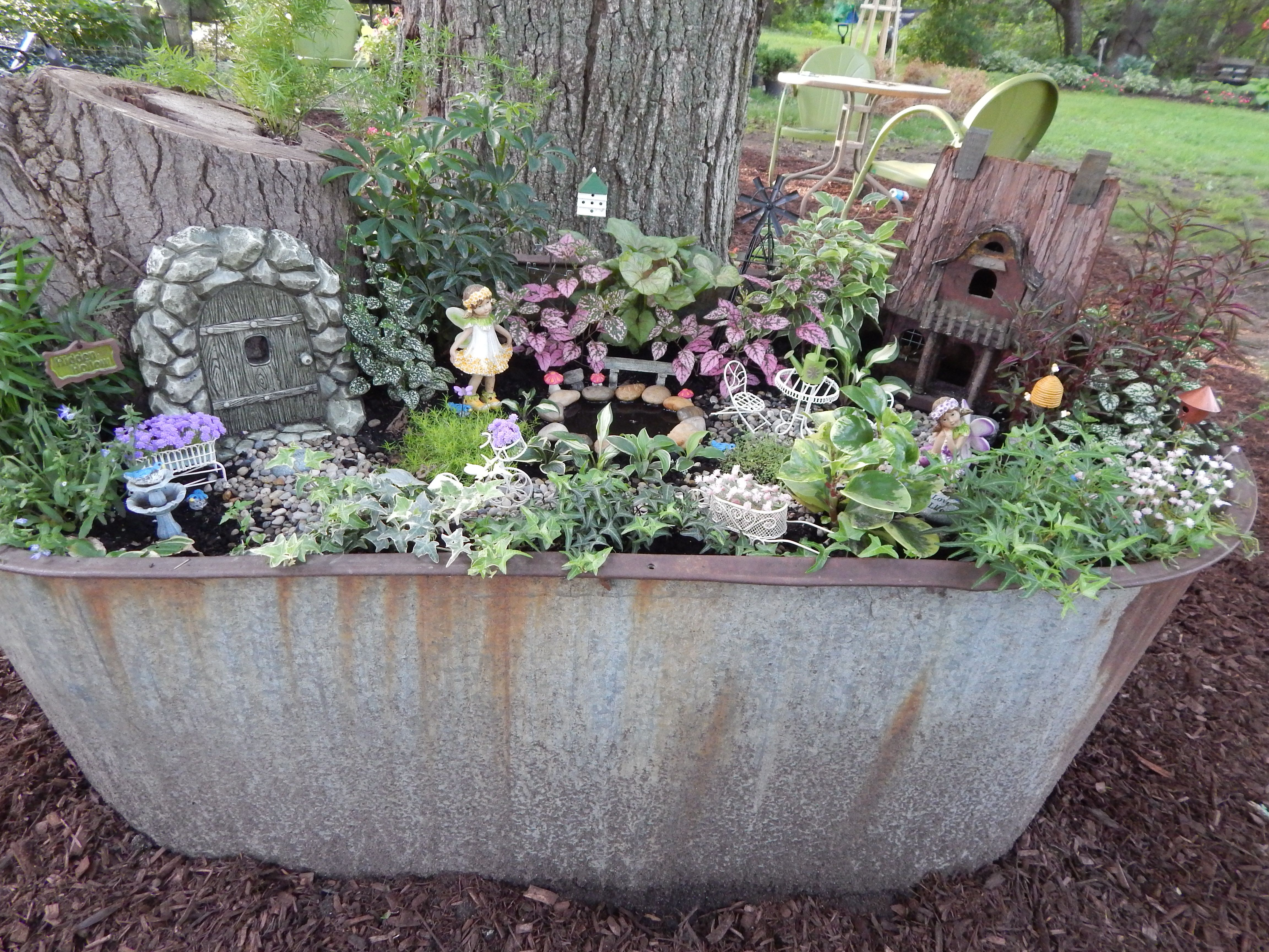 My Fairy Garden Made In An Old Horse Trough.Found An Old Log And Made