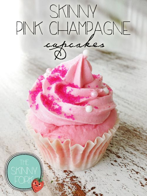 Skinny Pink Champagne Cupcakes — Blissful indulgence at only 200 calories each! Cupcake, frosting, and all!