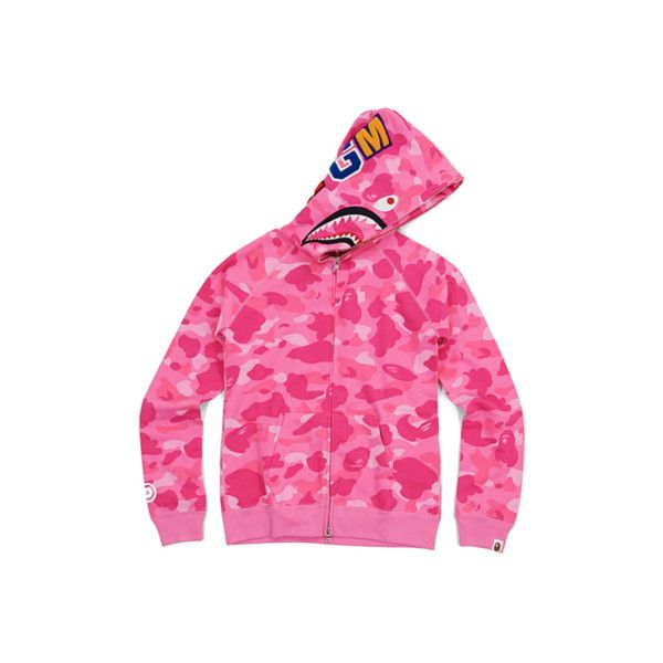 f4531011747f BAPE PINK CAMO SHARK HOODIE WOMENS featuring polyvore