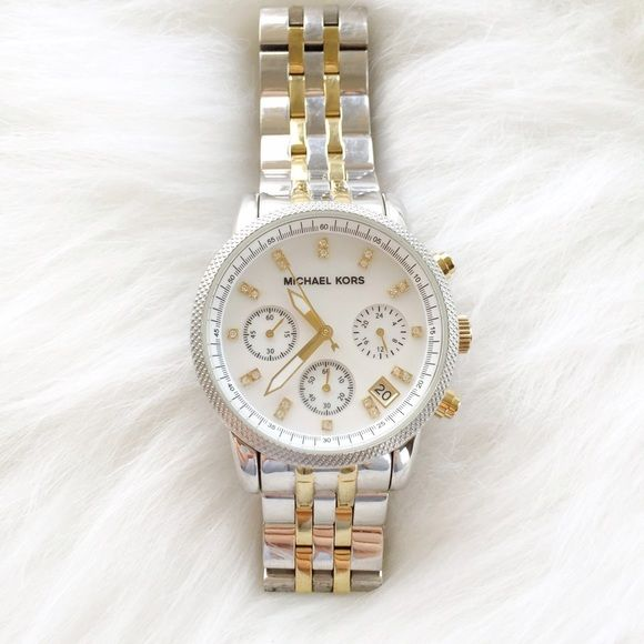 Authentic Michael Kors 'The Ritz' - Watch Michael Kors ' The Ritz' Gold & Silver Chronograph Bracelet Watch. Purchased at Nordstrom excellent condition. Gold ionic plating and stainless steel/mother of pear face with Swarovski crystals. Works great. Needs new batterie. No Links were removed so you can make those changes according to your wrist size.  Minimal Wear. No trades. Michael Kors Jewelry