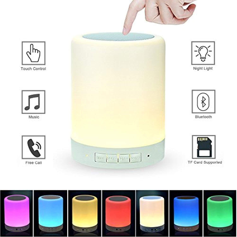 Lkandsmart Night Light With Bluetooth Speaker Smart Touch Sensor Bedside Lamp Dimmable 3 Level W Bluetooth Speakers Portable Wireless Music Speakers For Sale