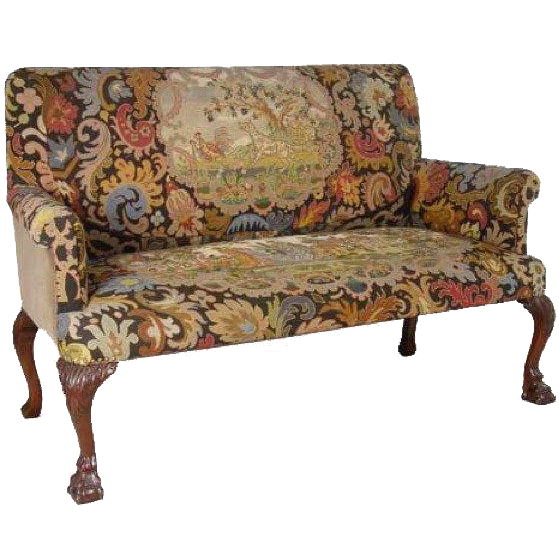 English Queen Anne Style Walnut Tapestry Settee Queen Anne
