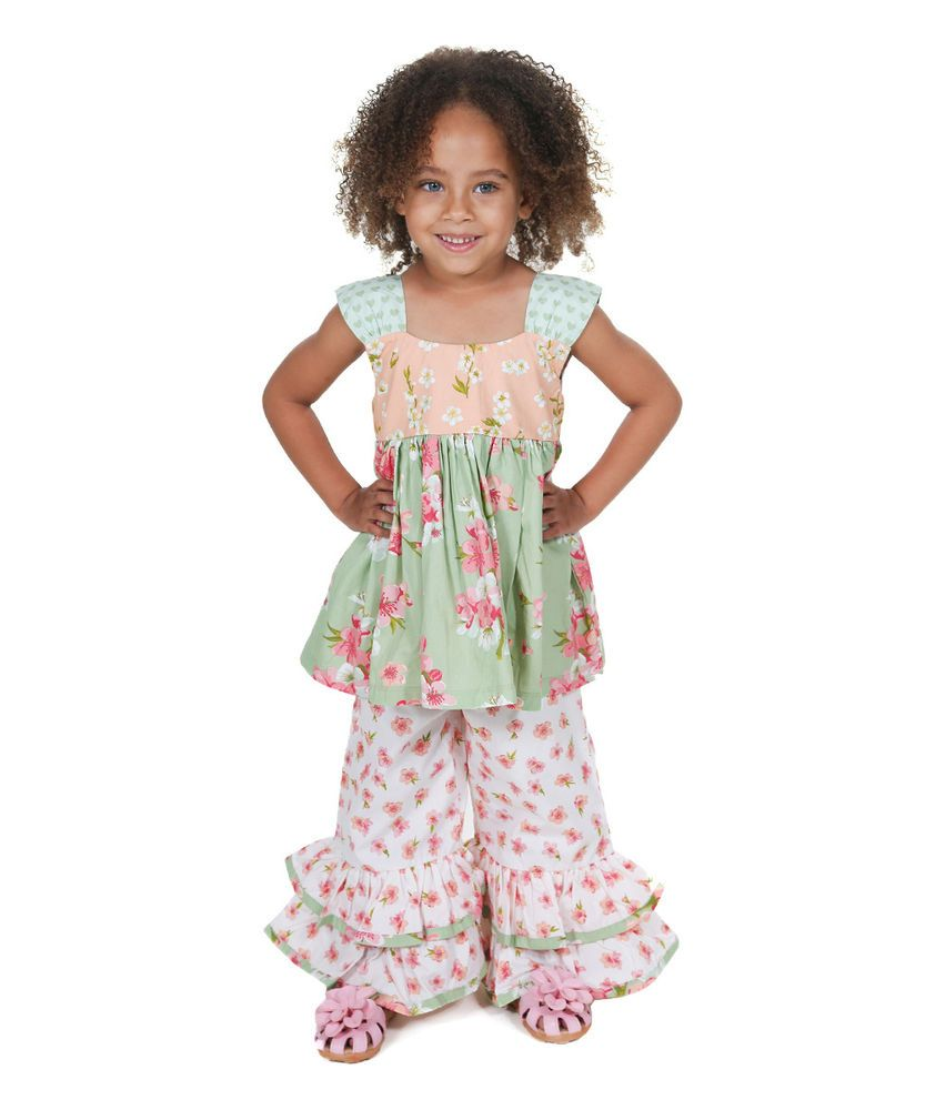Jelly The Pug Peach /& Green Sweet Heart Diane Dress Toddler Girls 2T,4 RRP:$65
