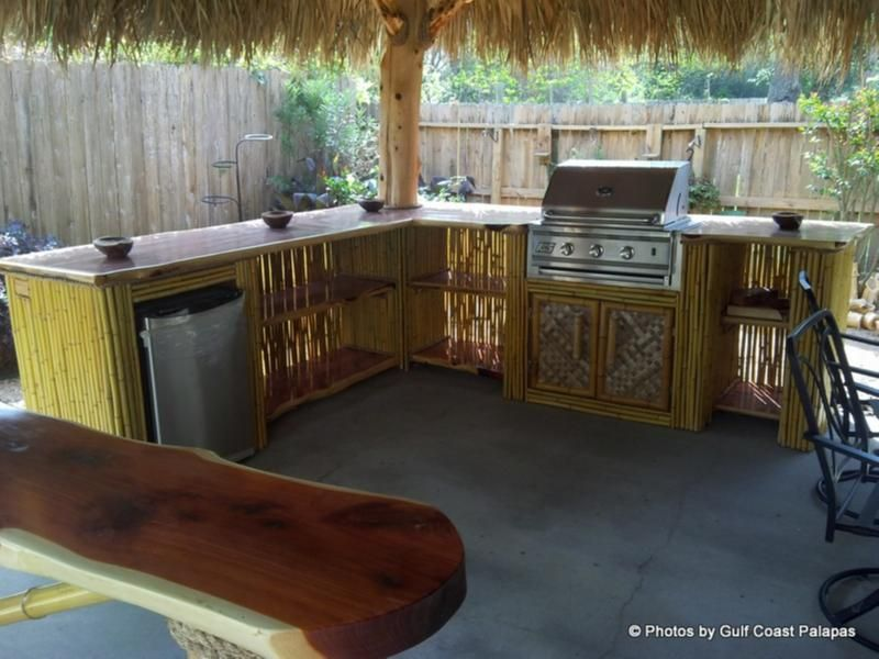 Outdoor Kitchens And Bars Gulf Coast Palapas And Deck Builders And Tiki Huts Houston And Galvestons Cedar Furniture Deck Builders Bamboo Furniture