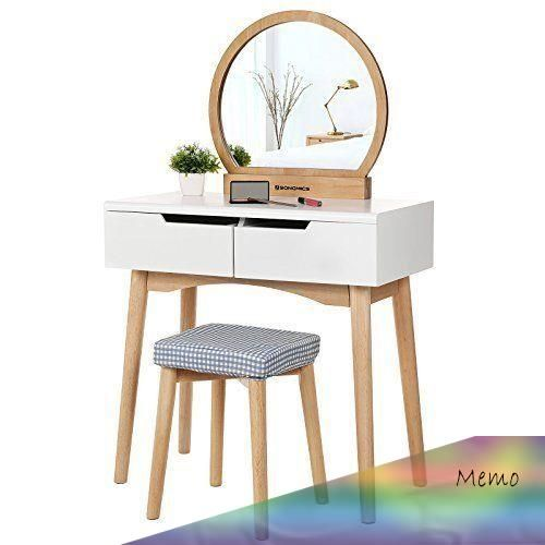 Feb 26 2019 Small Dressing Table Set Mirror Stool Drawers White Natural Wood Vanity Makeup In 2020 Small Dressing Table Dressing Table Dressing Table Mirror